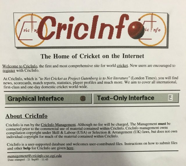 Screenshot of cricinfo in 1995.  Image:  By Desironya - Own work, CC BY-SA 4.0