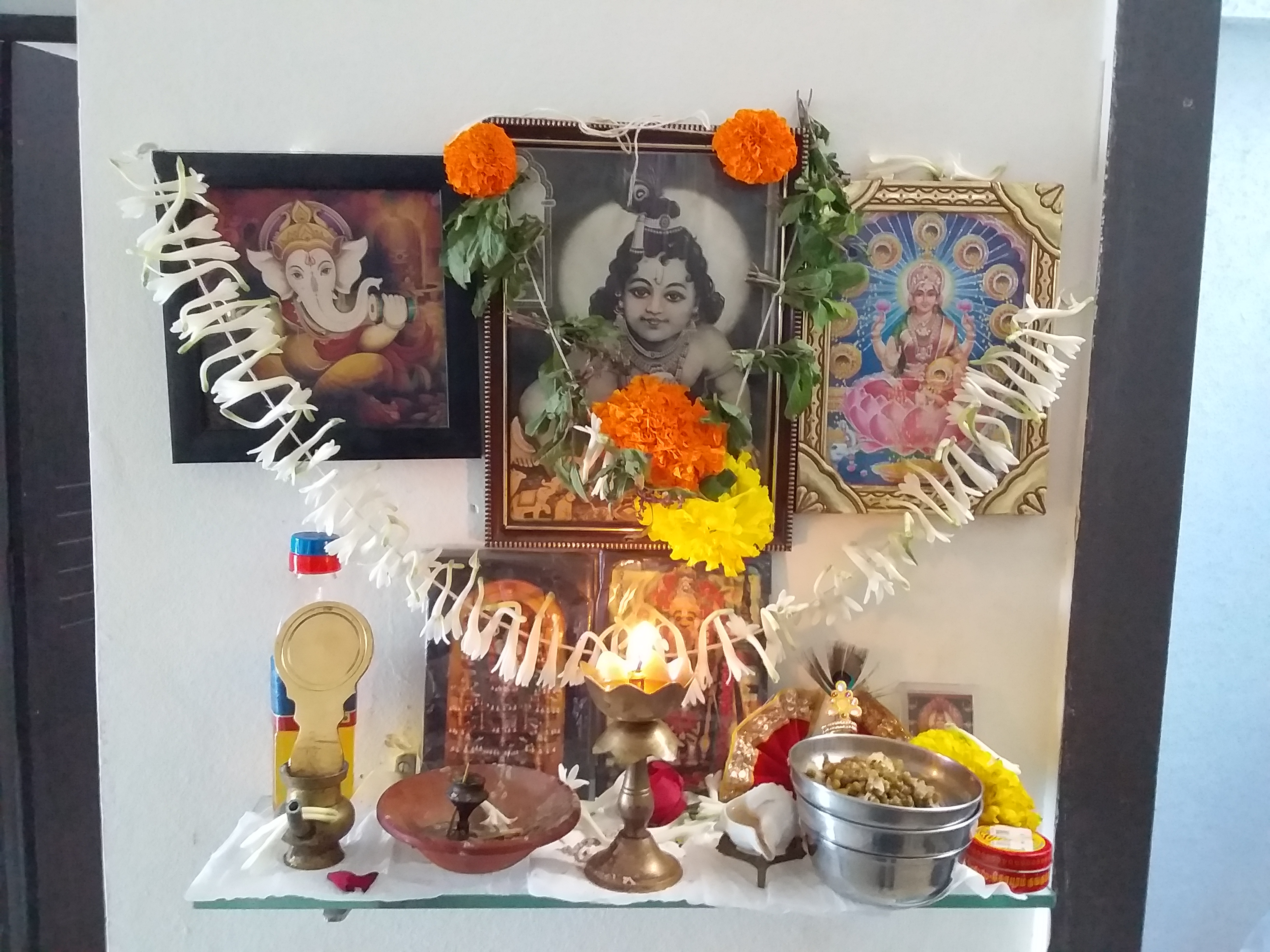 Photo of Our pooja place decorated for Shri Krishna Jayanthi. Photo Credit: Pradeep Mohandas
